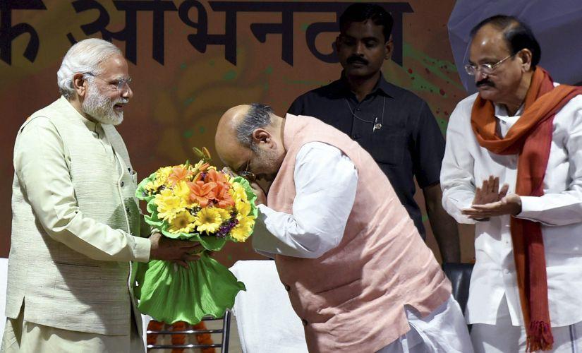 File image of Narendra modi, Amit Shah and Venkaiah Naidu. PTI