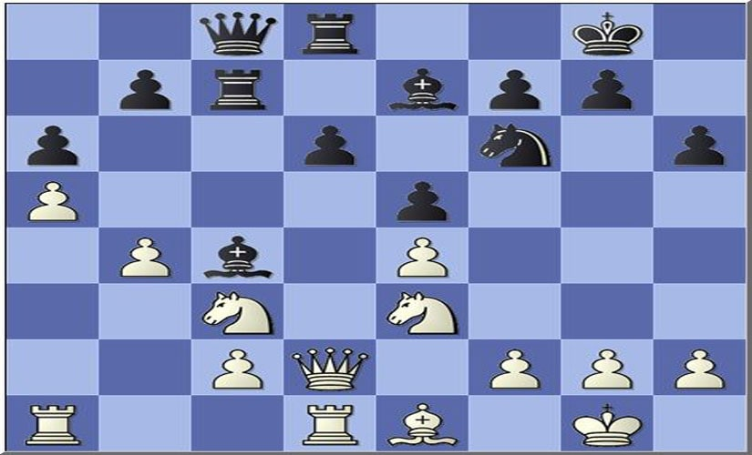 Position from the Anand versus Kasparov match at Saint Louis Rapid and Blitz (round six) after white's 19th move.