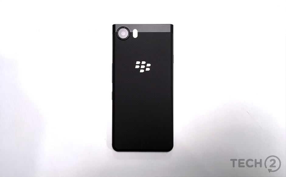 The BlackBerry logo on the back is reflective, like a mirror