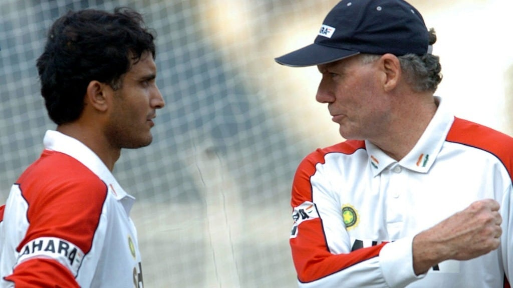 The then Indian cricket coach Greg Chappell (R) talks to Sourav Ganguly during a practice session at the MA Chidambaram Stadium in Chennai in November 2005. AFP