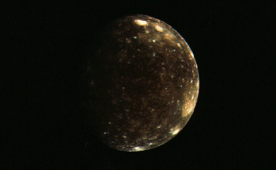 This is Callisto, the second largest of the Jovian moons. Image: NASA.