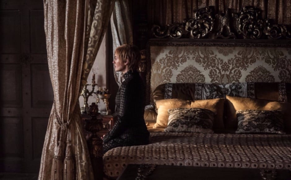 We know who isn't thinking of the Night King, or the White Walkers, or anything to do with the long Night or the Wall. Cersei. She does seem in thought, but we presume it could be over thoughts of Jaime, whose fate she may not know yet. Image via HBO