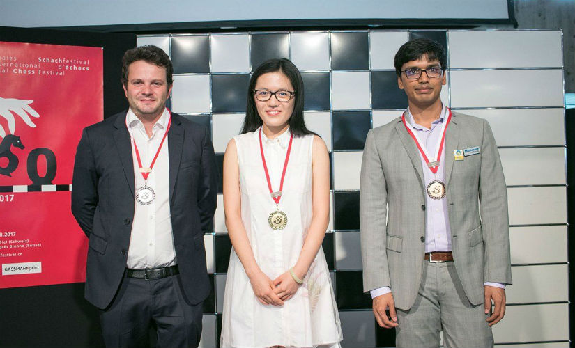 Etienne Bacrot, Hou Yifan and Pentala Harikrishna (Left-right) at the podium. (Image courtesy: Official website of Biel Chess Festival)