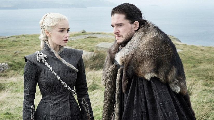 Daenerys Targaryen (Emilia Clarke) and Jon Snow (Kit Harington). Still from Game of Thrones season 7. Image via HBO