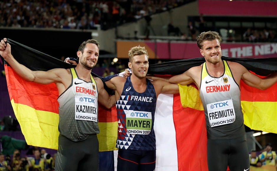 Meanwhile France's Kevin Mayer (Centre) won his maiden decathlon world title with a world leader tally of 8768 points. Kai Kazmirek(L) and Rico Freimuth(R) gave Germany both the bronze and silver medals. AP