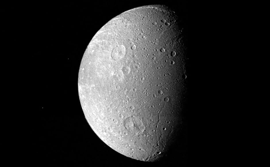 Dione, another moon of Saturn. Image: NASA.