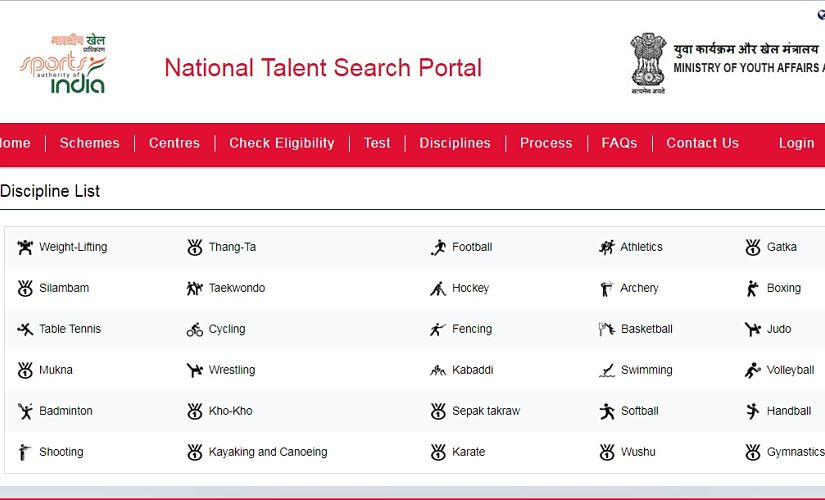 The list of disciplines of the talent search. Image Courtesy: Screengrab from official website