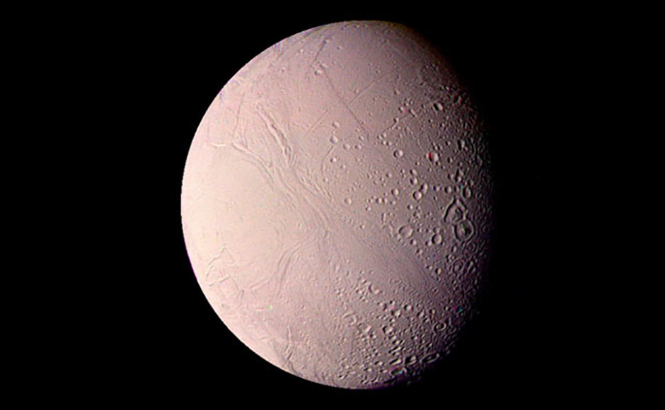 Enceladus, a Saturnian moon that we now know has the ingredients to support life. Image: NASA.