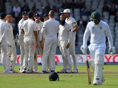 England's Moeen Ali looks back after taking the wicket of Quinton de Kock in the final Test. AP