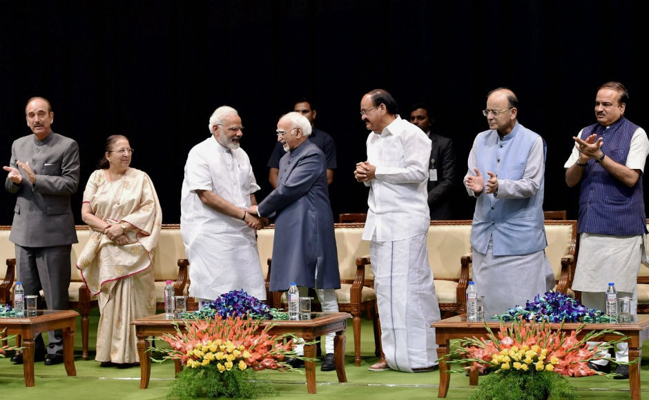 Outgoing Vice-President Hamid Ansari was on Thursday accorded a warm farewell by leaders from across the political spectrum, at GMC Balayogi Auditorium at Parliament in New Delhi. PTI