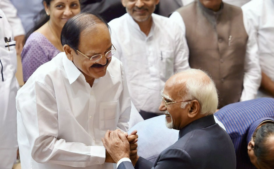 Prime Minister Narendra Modi and his Cabinet colleagues, Speaker Sumitra Mahajan, former prime minister Manmohan Singh, deputy speaker M Thambidurai and vice-president elect Venkaiah Naidu were present for the farewell. PTI