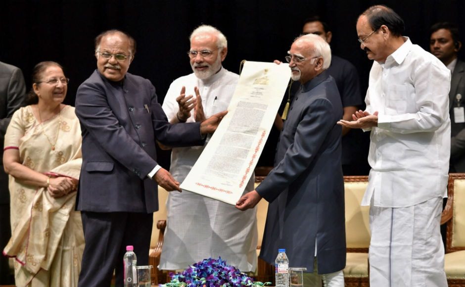 "The outgoing vice-president was presented a scroll by deputy chairman of Rajya Sabha PJ Kurien. Recently, Hamid Ansari had evoked a controversy where he said that ""a sense of insecurity was creeping in among Muslims because of the vigilantism and intolerance"". PTI"