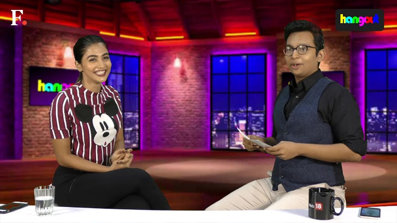 Pooja Hegde in conversation with Renil Abraham on Hangout. Image from Firstpost.