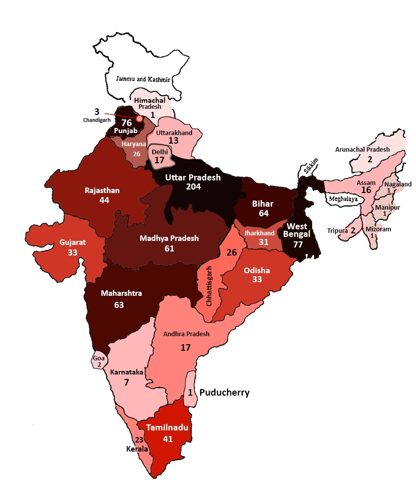 State-wise distribution of deaths in judicial custody recorded in 2017