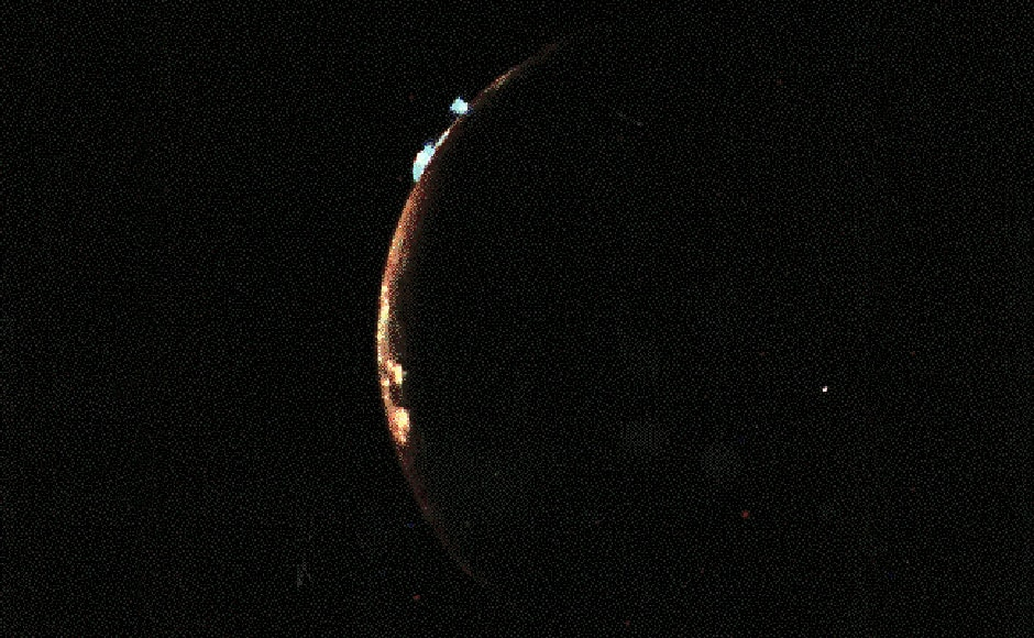Volcanic activity on Io, one of the moons of Jupiter. Image: NASA.