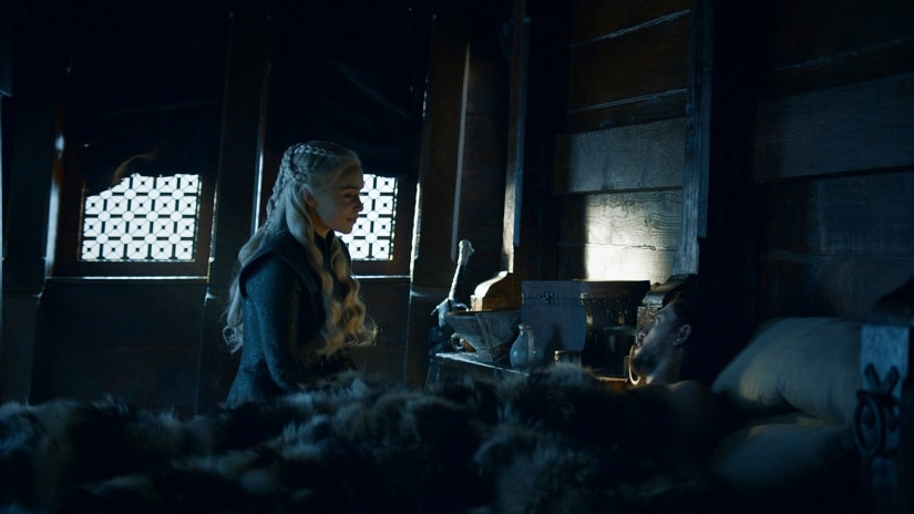 Dany and Jon are aunt-nephew; their relationship further complicated by the fact that as Rhaegar Tararyen's legitimate son, Jon/Aegon is the rightful heir to the Iron Throne. Still from Game of Thrones. Image via HBO