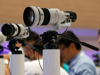 Sony Camera lenses showcased at a technology fair. Reuters
