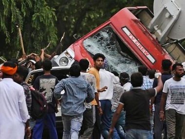 Attack on media vans in Panchkula. PTI