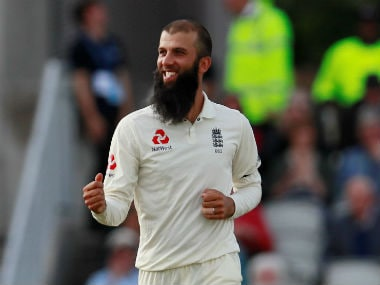 Moeen Ali celebrates the wicket of South Africa's Duanne Olivier and winning the fourth Test of the series. Reuters