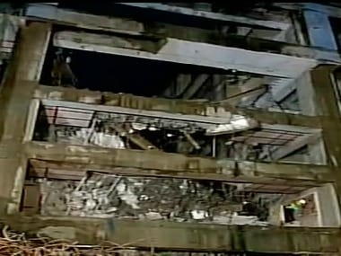 Image of the crashed building. Twitter @ANI