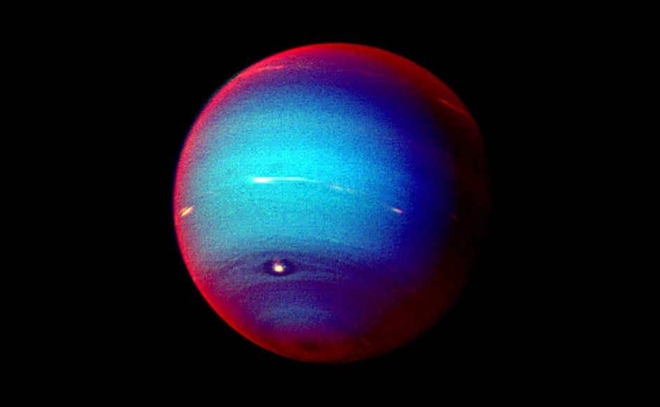 A false colour image of Neptune. Image: NASA.