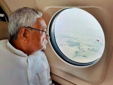 Nitish Kumar takes an aerial survey of the flood-hit districts in Bihar on Monday. PTI