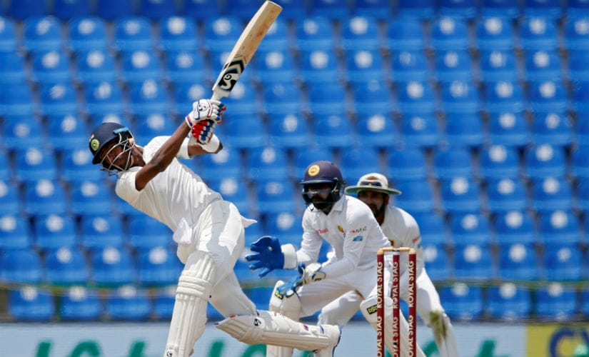 Hardik Pandya plays a shot on Day 2 of the 3rd Test against Sri Lanka at Pallekele. Reuters