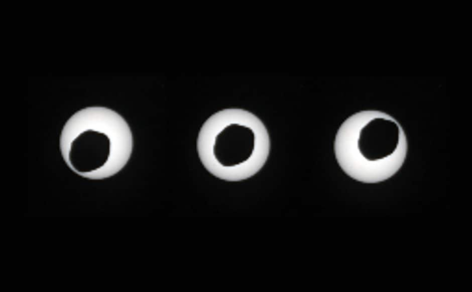 This is an annular eclipse of the Sun, with the Martian moon Phobos in the front, as seen by Curiosity. Image: NASA.