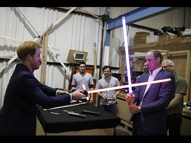 Prince Harry and Prince William during a visit to Star Wars film set. Image from Reuters.