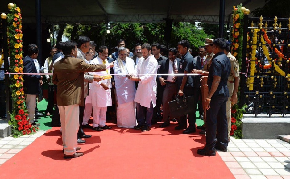 Rahul along with Karnataka chief minister Siddaramaiah, city Mayor G Padmavathi, Karnataka Pradesh Congress Committee president G Parameshwara and other party leaders, inaugurated the canteen. Twitter@OfficeOfRG