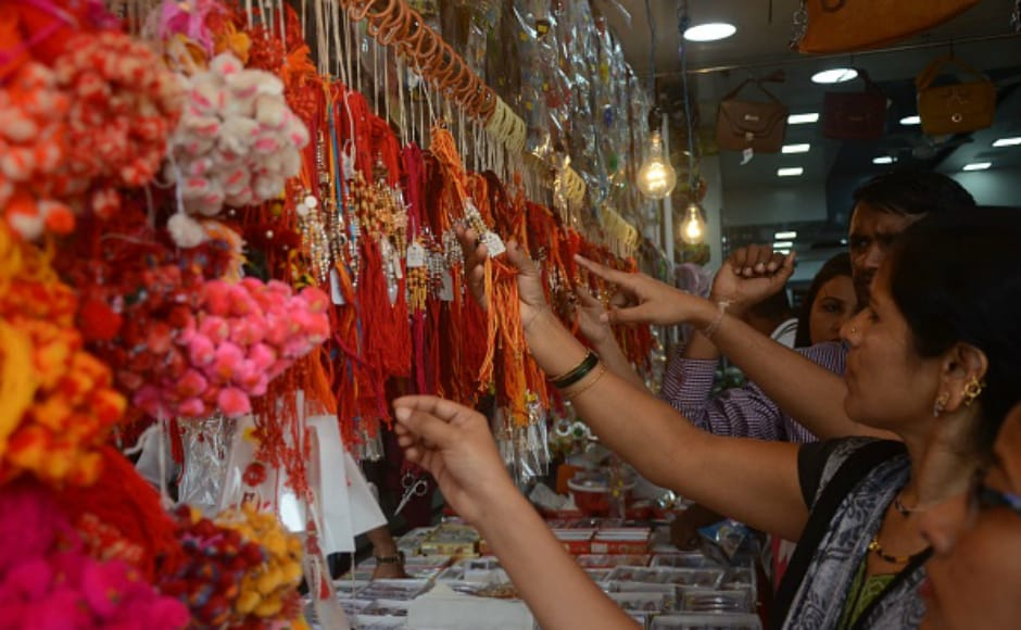Women shop ahead of Raksha Bandhan in Mumbai. Raksha Bandhan or simply Rakhi is a Hindu festival, celebrated in many parts of the Indian subcontinent, notably India and Nepal. Raksha Bandhan is a time to celebrate the 'bond of protection' between a brother and his sister. Getty images