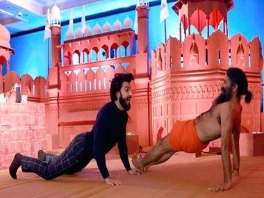 File image of Ranveer Singh and Baba Ramdev's dance-off. YouTube