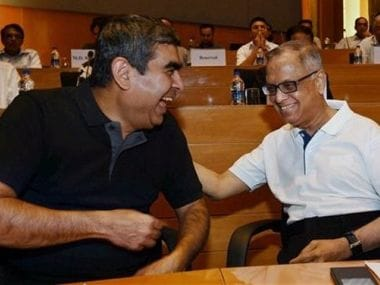 A file image of former Infosys CEO Vishal Sikka with company founder Narayan Murthy. PTI