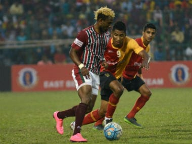 Mohun Bagan's Sony Norde (L) in action against East Bengal. AFP