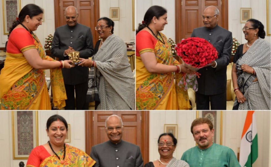 Smriti Irani also called on President Ram Nath Kovind and extended Ganesh Chaturthi greetings to him and his family after taking oath as a member of Rajya Sabha. Twitter @Smriti Irani