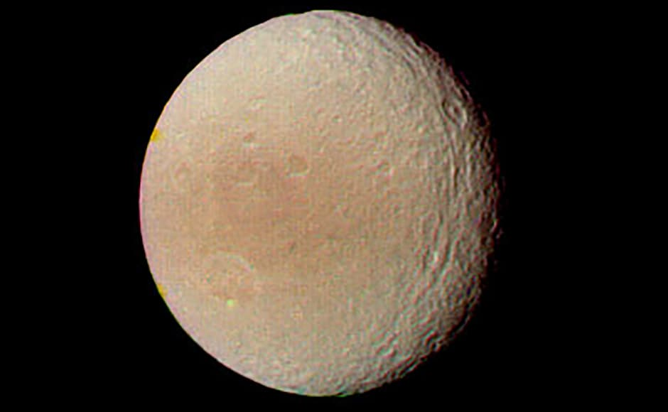 Tethys, a moon of Saturn with a highly reflective surface. Image: NASA.