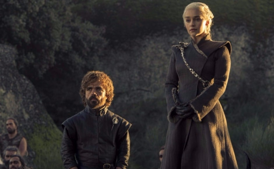 This still is presumably from the scene we saw in the Game of Thrones season 7 episode 5 previw — where Dany asks all the soldiers still standing at the end of the Tumbleton battle to 'bend the knee' or suffer the consequences. Image via HBO