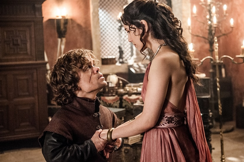 Tyrion and Shae. Rhaegar and Lyanna. Still from Game of Thrones. Image via HBO