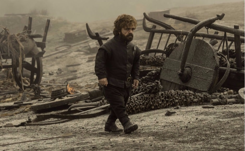 Meanwhile, Tyrion is walking through the ashes of the Tumbleton battlefield, where the Loot Train Attack took place in episode 4. Is he searching for Jaime? Image via HBO