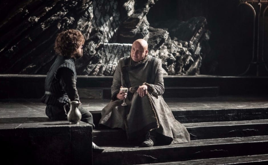 He also has this impromptu conference with Tyrion. Does the setting remind anyone else of his conversation with Varys in the Red Keep's throne room that led to the famous line — 'Chaos is a ladder' — being uttered? Image via HBO