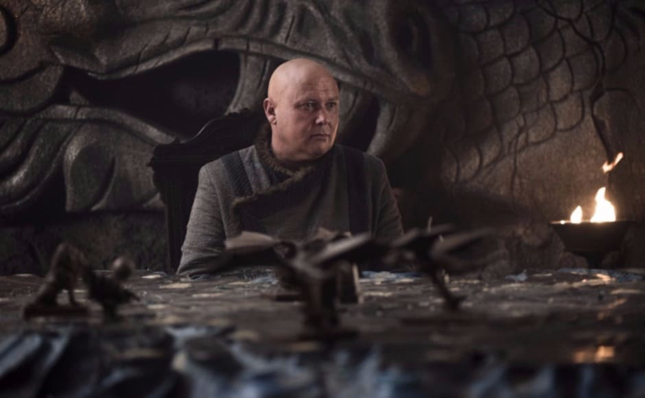Back at Dragonstone, Varys is deep in thought. Will he betray Dany — as fan theories posit? Image via HBO