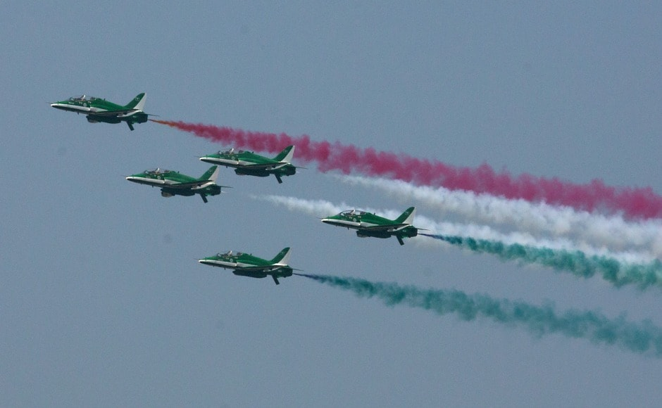 Pakistan air force organised the largest air show in the country showcasing their skills as they left multicolour trails in the largest air show in the country in Islamabad on Monday. AP