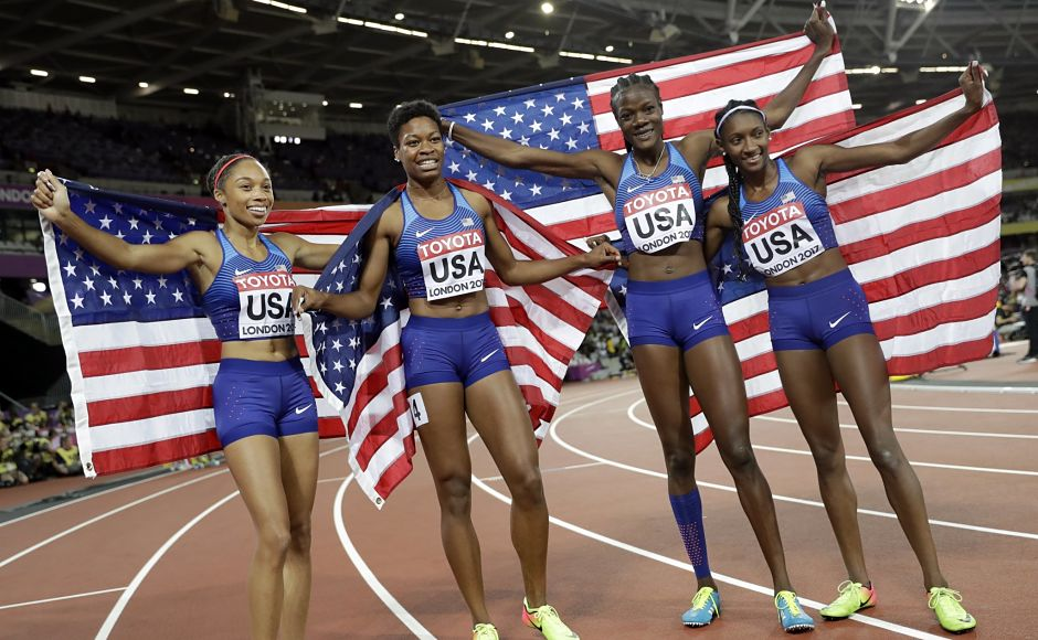 The gold medal winning US relay team, from left, Allyson Felix, Phyllis Francis, Quanera Hayes and Shakima Wimbley reclaimed the world title from Jamaica. Felix became the most celebrated athlete in Championships history by winning her 11th gold and 16th medal overall. AP
