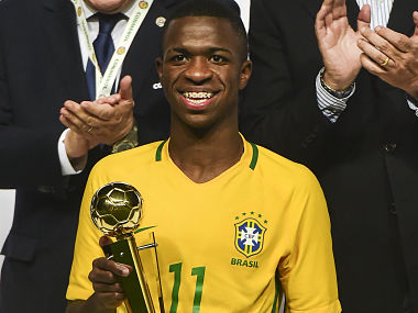 File image of Brazil´s Vinicius Junior with the best player trophy in the South American U-17 football tournament. AFP