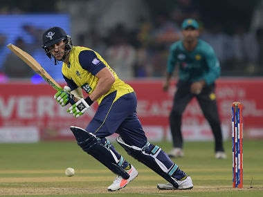 World XI captain Faf du Plessis plays a shot during the first Twenty20 match against Pakistan. AFP