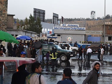 Cricket fans leave after a suicide bomb attack near the Kabul International Cricket ground in Kabul on 13 September. AFP