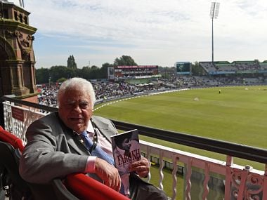 Former Indian cricketer Farokh Engineer poses for a photgraph at Old Trafford cricket ground in Manchester, north-west England, on September 19, 2017, ahead of the first One Day International (ODI) cricket match between England and the West Indies. / AFP PHOTO / PAUL ELLIS