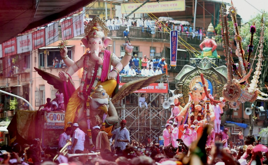 Thousands of gigantic, large, medium and small idols of the elephant-headed god, Lord Ganesha, were taken out for immersion to various water bodies on Anant Chaturdashi, marking the end of the 12-day long Ganeshotsav in Mumbai on Tuesday. PTI