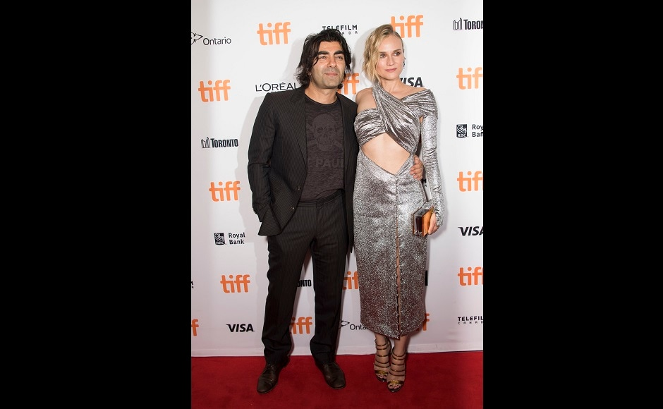 Director Fatih Akin, left, and Diane Kruger attend a premiere for In the Fade. Photo by AP