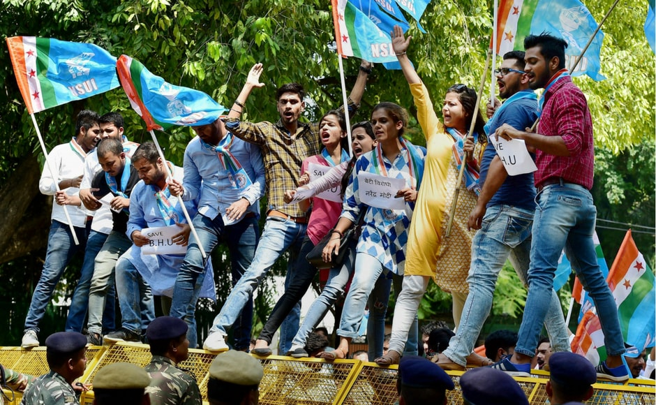 The protesters criticised Prime Minister Narendra Modi and Uttar Pradesh chief minister Yogi Adityanath for failing to protect female students during the clashes at BHU. PTI